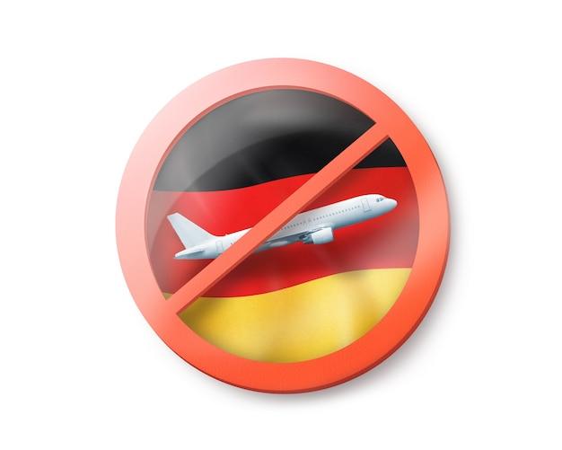 Знак forbbiden с перечеркнутым белым самолетом на немецком флаге на белом, копией пространства. ограничение въезда в германию. концепция карантина. 3d иллюстрации