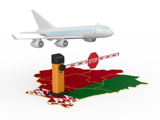 Запрещенный полет в республику беларусь на белом фоне. изолированная 3-я иллюстрация