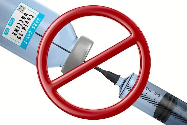 흰색 바탕에 covid-19의 금지 표지판과 백신. 격리 된 3d 그림