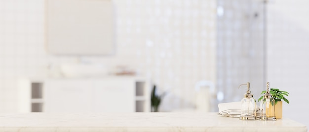 Foreground for montage product display on marble tabletop over blurred bathroom bathroom