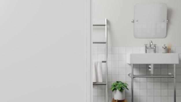 Стена переднего плана или фрагмент белой стены над размытой белой современной ванной комнатой. 3d визуализация