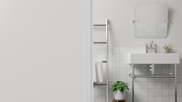 Foreground wall or white wall fragment over blurred white modern bathroom3d rendering