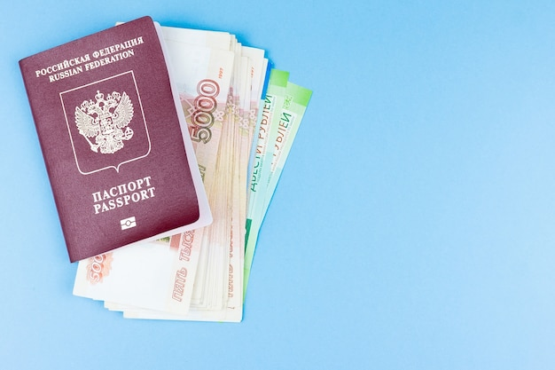 Foreign passport with money