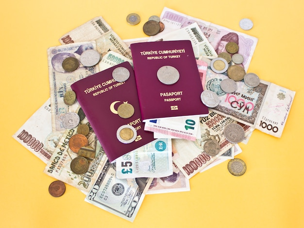 Foreign passports and money from different countries