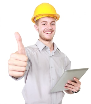 Foreman with hard hat showing thumb up