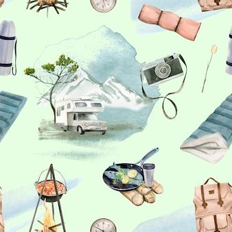 Лесной кемпинг бесшовные модели. идеально подходит для открыток, приглашений, вечеринок, баннеров, детского душа, украшения дошкольных и детских комнат.
