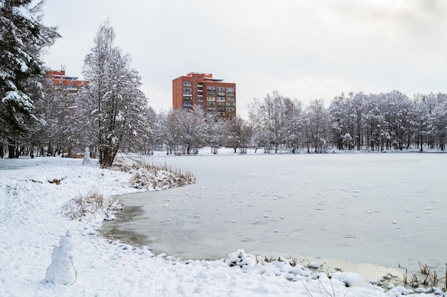 雪に覆われた森。冬の凍った湖のほとりにある赤レンガの高層ビル。ラトビアの冬の風景。ジュグラ、リガ