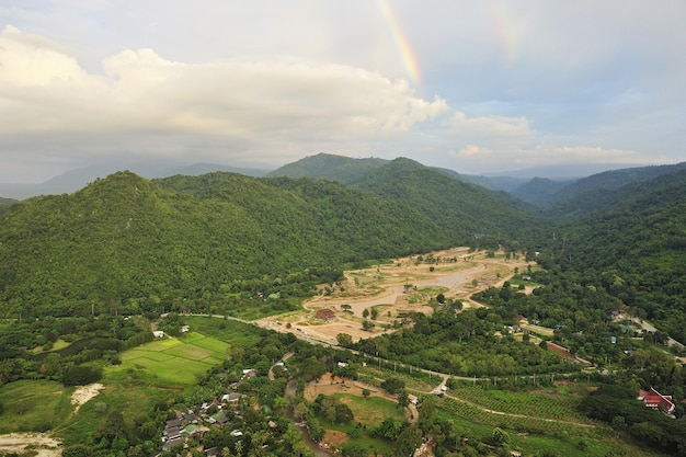Forest destruction in thailand form aerial view