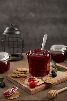 Forest fruit homemade delicious jam in a jar