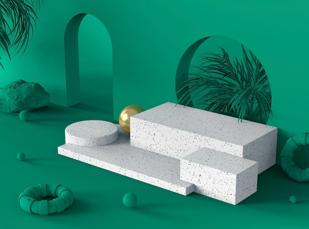 Подиумная сцена зеленого цвета для демонстрации продуктов или косметики на белом мраморном камне терраццо