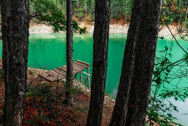 木製の桟橋と森の湖。針葉樹林にある木製の桟橋のある美しいターコイズブルーの湖。エメラルドの森の湖。風景写真。コピースペース
