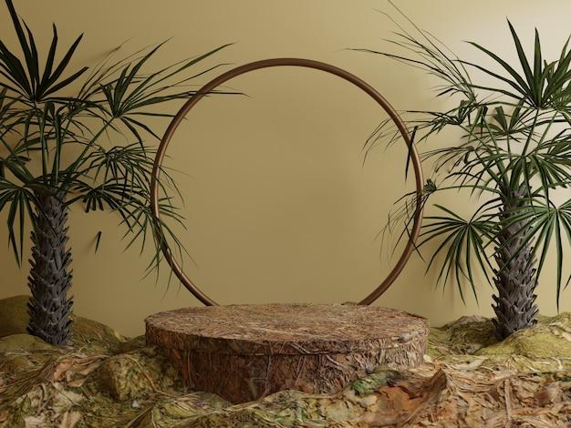 森の葉と熱帯の木の天然物表彰台の背景フロント争い