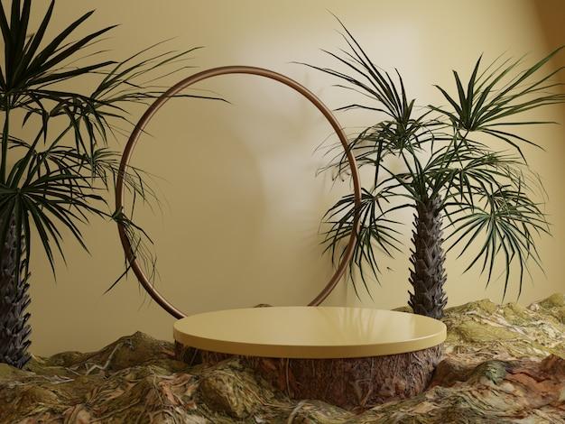 森の葉と熱帯の木の天然物表彰台の背景側面図