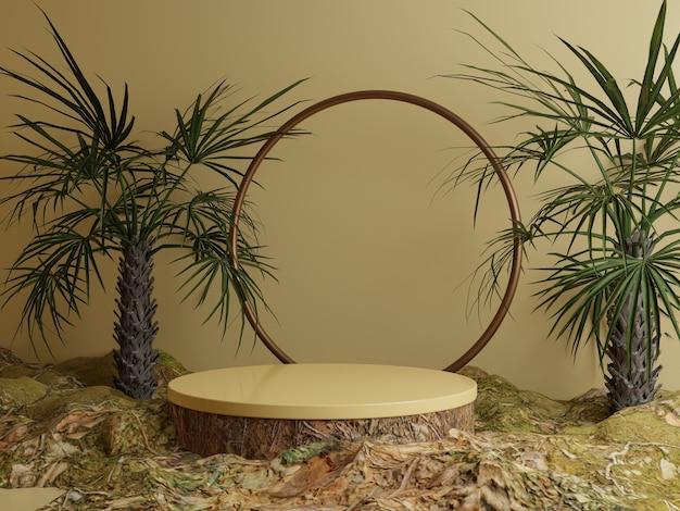 森の葉と熱帯の木の天然物表彰台の背景
