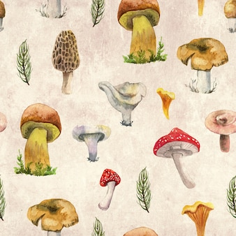 Forest mashrooms watercolor pattern for wrapping