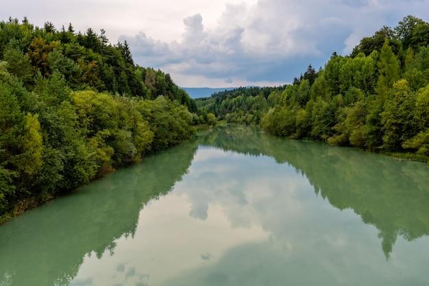 森川反射風景。秋の森の川の水のパノラマ。秋の森川反射