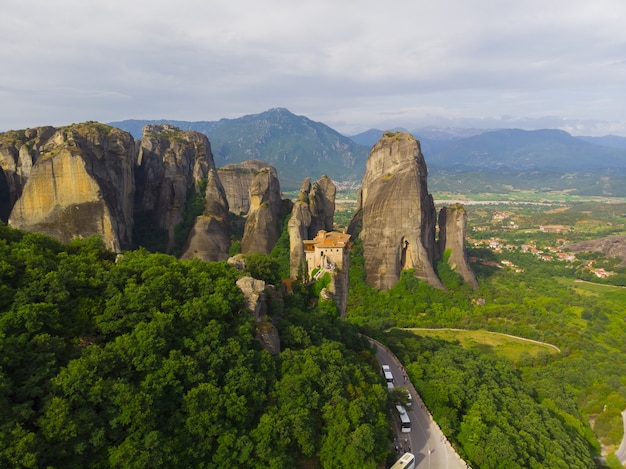 Forest and rock formations in meteora, greece