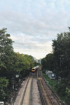 ヨーロッパの都市の線路上で電車のある森のシーン。日光の下で英国の森。