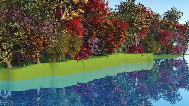 Foresta sul lato di un fiume