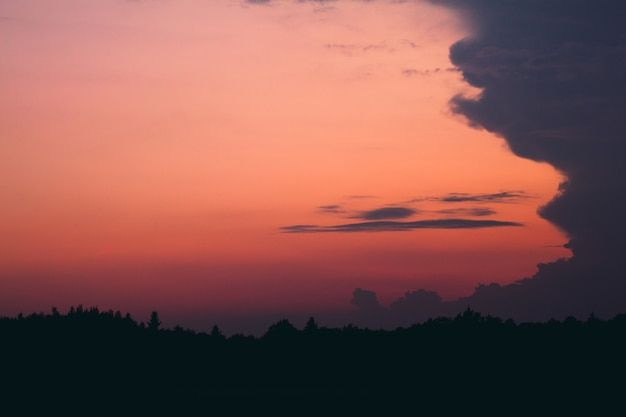 Forest silhouette at sunset with a cloud on the right side