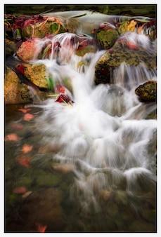 スペイン、バレンシアの森の小川または小さな滝。長期露出。