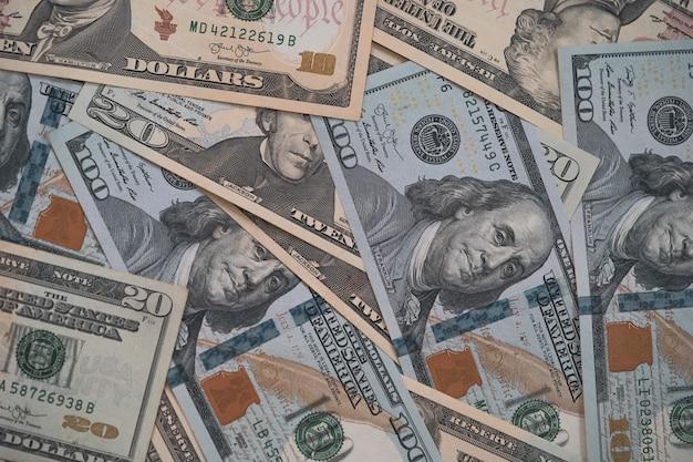 외환 및 통화 교환 개념, 미국 달러 지폐의 상위 뷰.