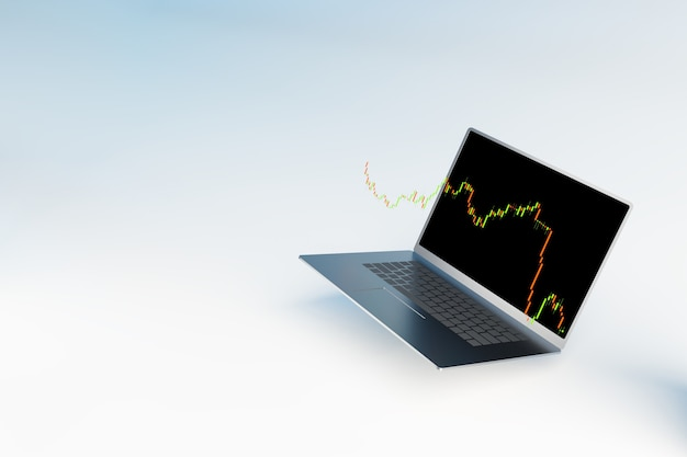 外国為替取引市場を取引するための外国為替株価チャートとラップトップ、外国為替取引バナー、3dイラストレンダリング