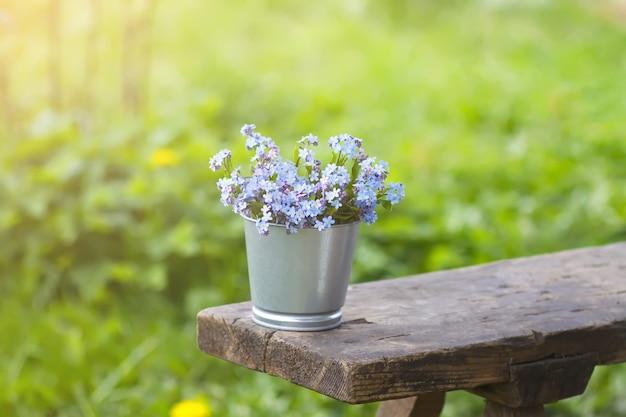 물망초 푸른 봄 정원 꽃 꽃다발 야외 나무 벤치에