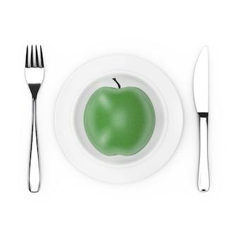 Вилка и нож возле тарелки со свежим зеленым яблоком, вид сверху на белом фоне. 3d рендеринг