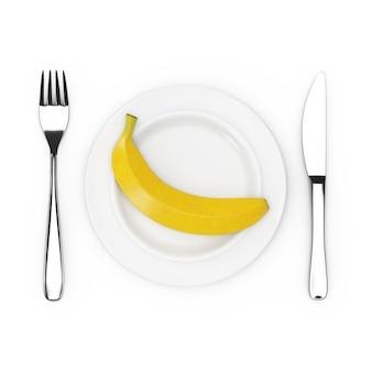 Вилка и нож возле тарелки с одним спелым желтым бананом, вид сверху на белом фоне. 3d рендеринг