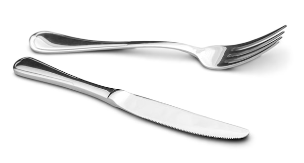 Вилка и нож, столовое серебро, изолированные на белом фоне