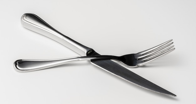 Fork and knife isolated on white