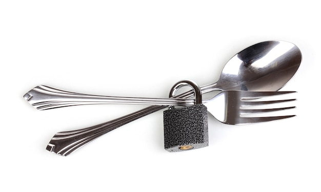 Fork and spoon with padlock isolated on white