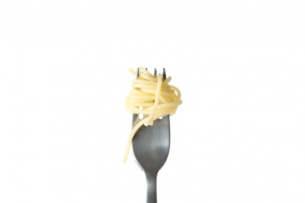 Fork with tasty pasta isolated on white wall