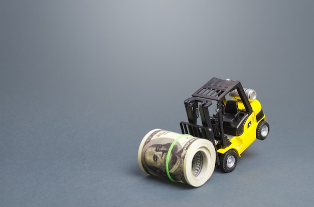 A forklift cannot lift a bundle roll of dollars strongest financial assistance support of business and people