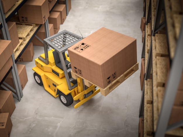 Forklift in classic warehouse