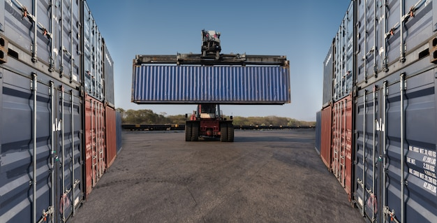 Forklift handling holding container box