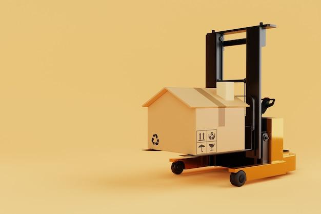 黄色の背景に家や家のように見えるフォークリフトの持ち上げと移動の段ボール箱。産業および家計の住宅ローンの概念。配達と輸送。 3dイラストレンダリング