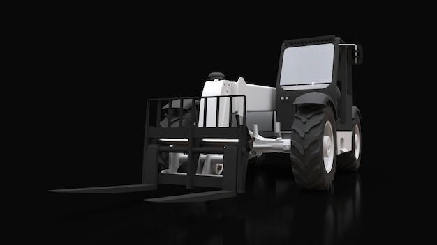 Forklift truck on a black background. 3d rendering.
