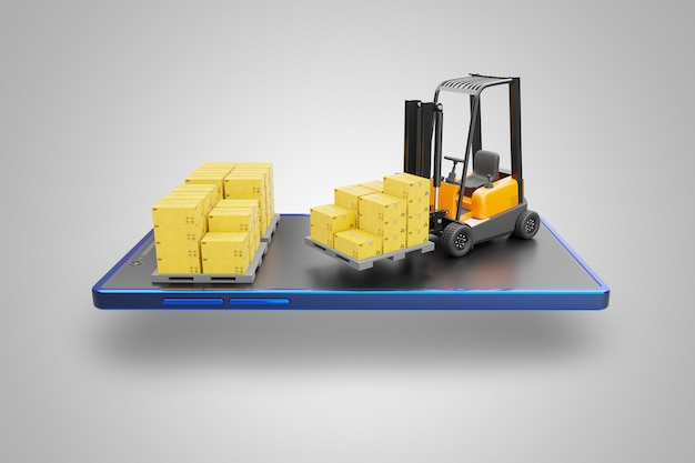 Forklift truck and cardboard box on pallet set on screen of smartphone.
