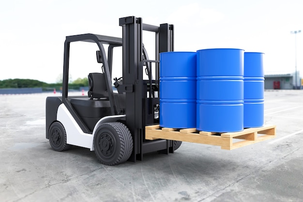 The forklift truck is lifting oil barrels