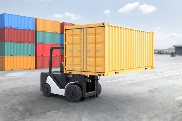 Forklift truck lifting container