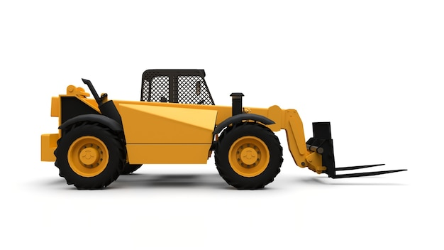 Forklift truck on a white isolated