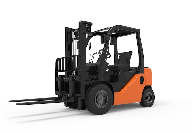 Forklift truck on white