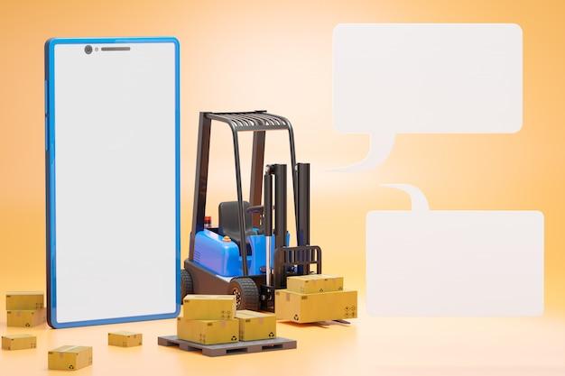 パレットに段ボール箱が付いているフォークリフト。スマートフォンとテキストボックス。倉庫での貨物輸送。