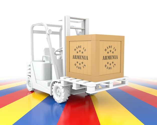 아르메니아 국기 색상의 지게차입니다. 아르메니아에서 제작되었습니다. 3d 렌더링
