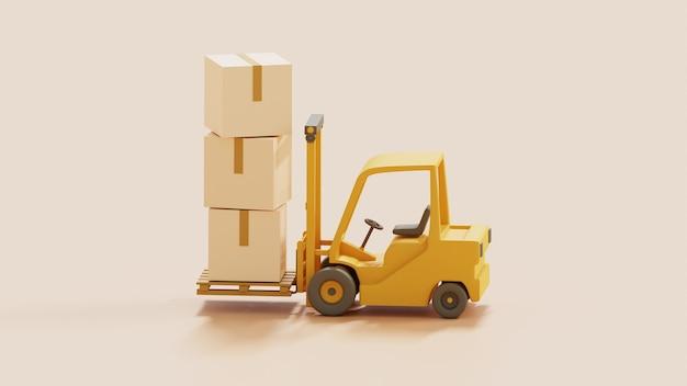 輸送用パレットに貨物ボックスを備えたフォークリフト