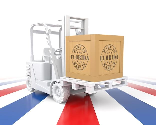 수출용 나무 상자가 있는 지게차. 플로리다에서 만들어졌습니다. 3d 렌더링