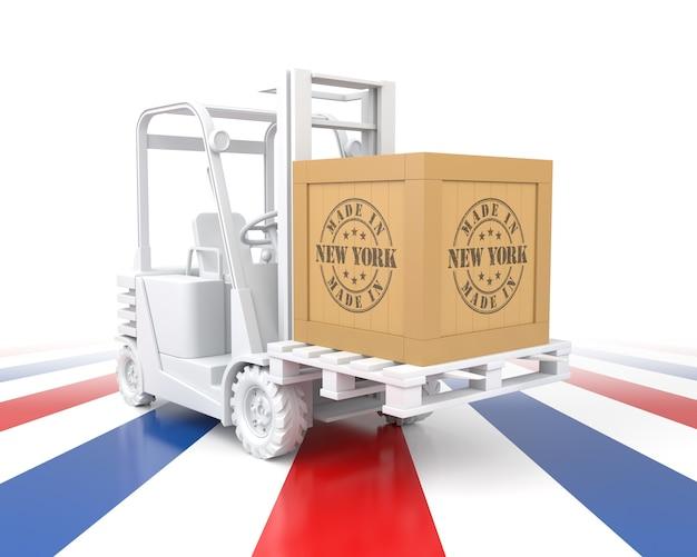 Вилочный погрузчик с экспортным деревянным ящиком. сделано в нью-йорке. 3d рендеринг