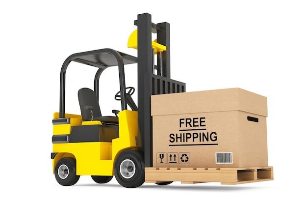 Вилочный погрузчик с коробкой для бесплатной доставки и поддоном на белом фоне